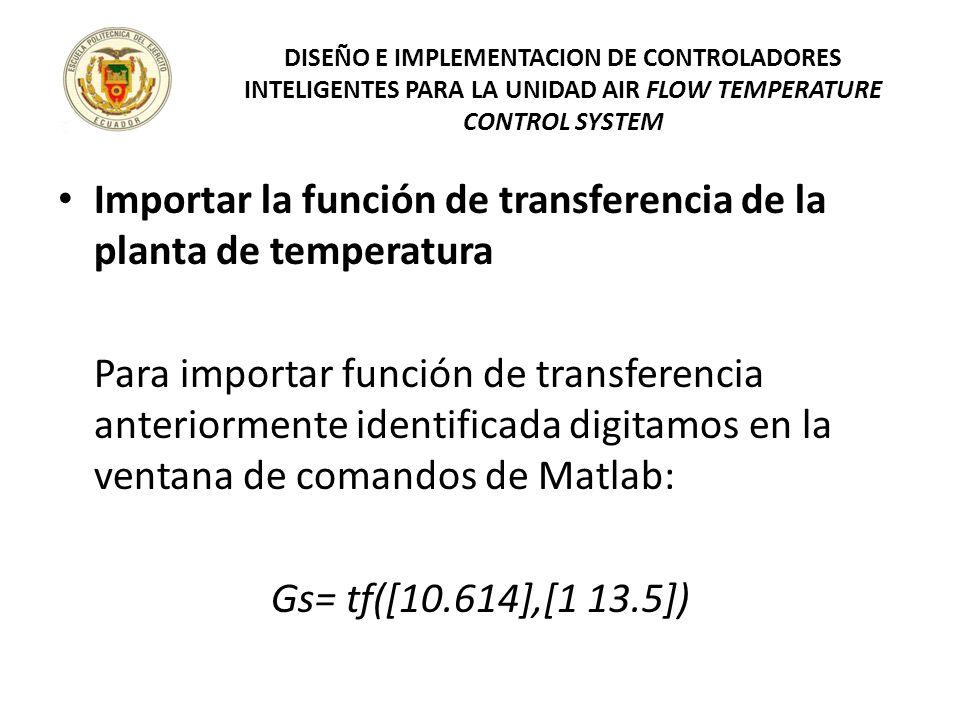 Importar la función de transferencia de la planta de temperatura