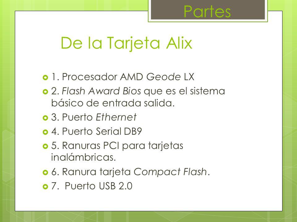 Partes De la Tarjeta Alix 1. Procesador AMD Geode LX