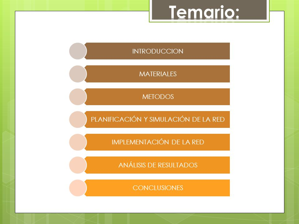 Temario: INTRODUCCION MATERIALES METODOS