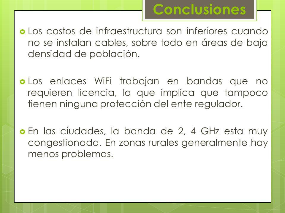 Conclusiones Los costos de infraestructura son inferiores cuando no se instalan cables, sobre todo en áreas de baja densidad de población.