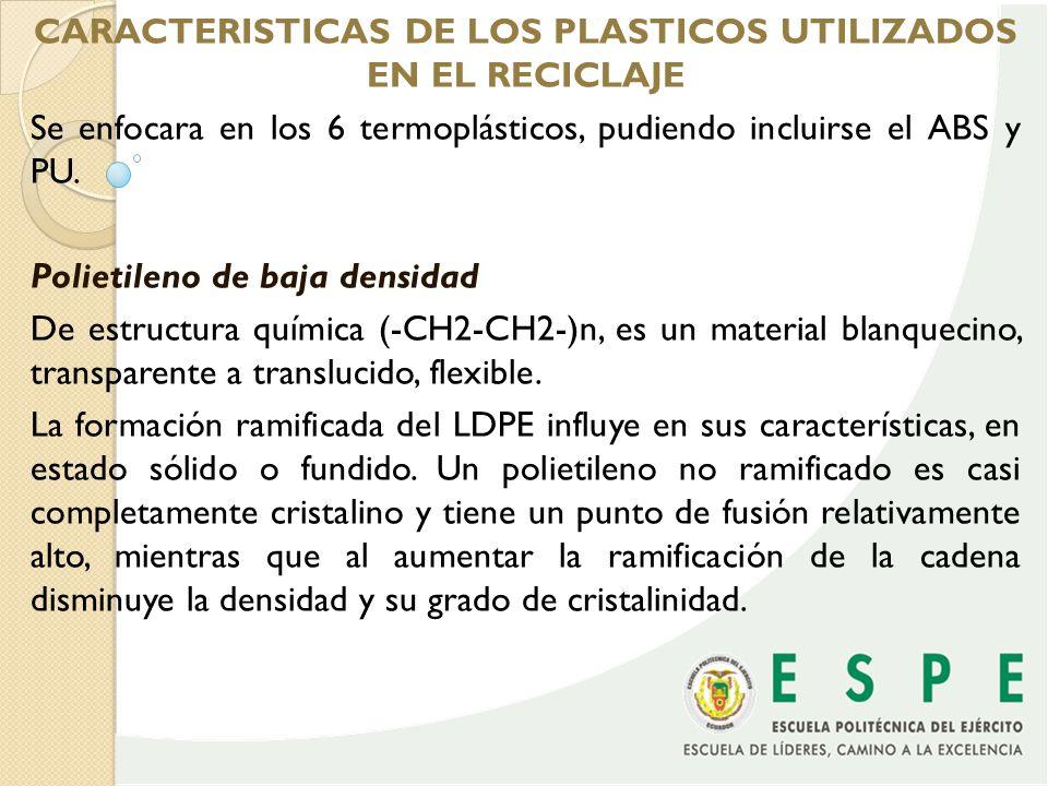 CARACTERISTICAS DE LOS PLASTICOS UTILIZADOS EN EL RECICLAJE