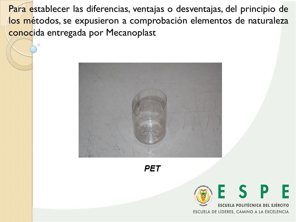 Para establecer las diferencias, ventajas o desventajas, del principio de los métodos, se expusieron a comprobación elementos de naturaleza conocida entregada por Mecanoplast
