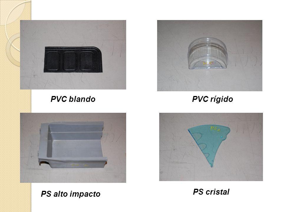PVC blando PVC rígido PS cristal PS alto impacto