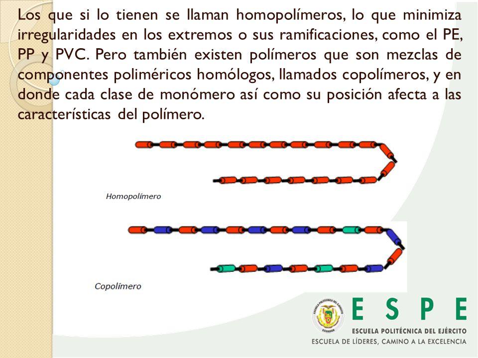 Los que si lo tienen se llaman homopolímeros, lo que minimiza irregularidades en los extremos o sus ramificaciones, como el PE, PP y PVC.