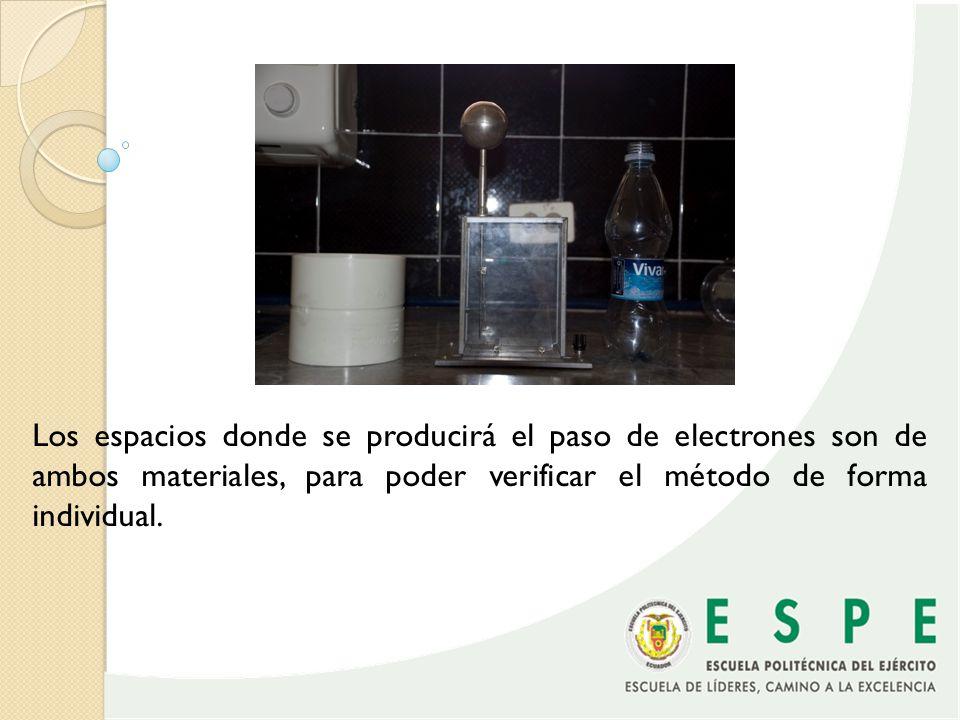 Los espacios donde se producirá el paso de electrones son de ambos materiales, para poder verificar el método de forma individual.