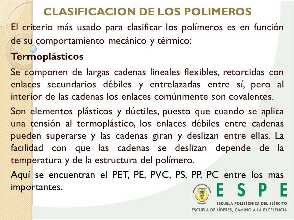 CLASIFICACION DE LOS POLIMEROS