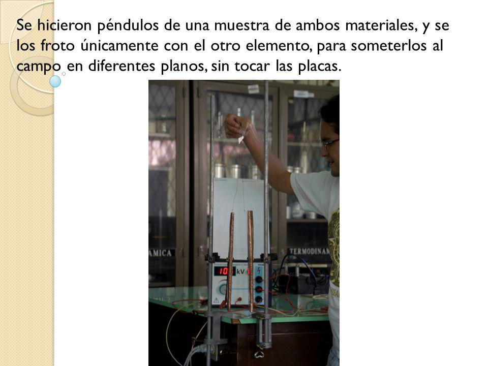 Se hicieron péndulos de una muestra de ambos materiales, y se los froto únicamente con el otro elemento, para someterlos al campo en diferentes planos, sin tocar las placas.