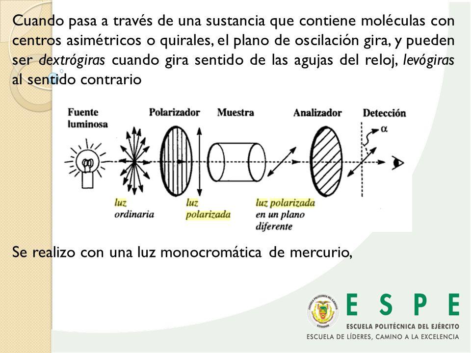 Cuando pasa a través de una sustancia que contiene moléculas con centros asimétricos o quirales, el plano de oscilación gira, y pueden ser dextrógiras cuando gira sentido de las agujas del reloj, levógiras al sentido contrario