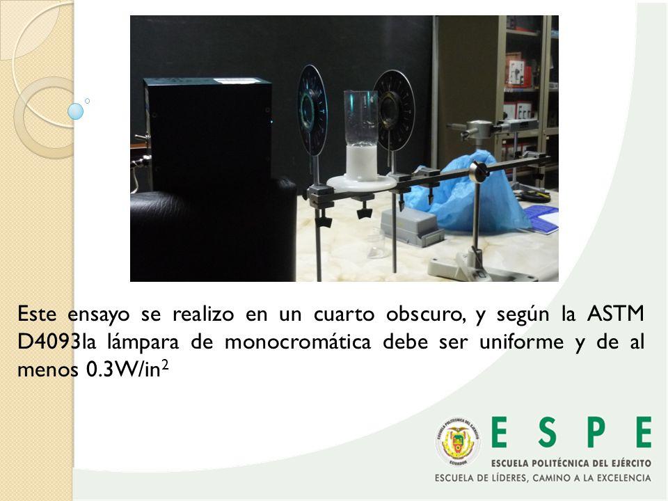 Este ensayo se realizo en un cuarto obscuro, y según la ASTM D4093la lámpara de monocromática debe ser uniforme y de al menos 0.3W/in2