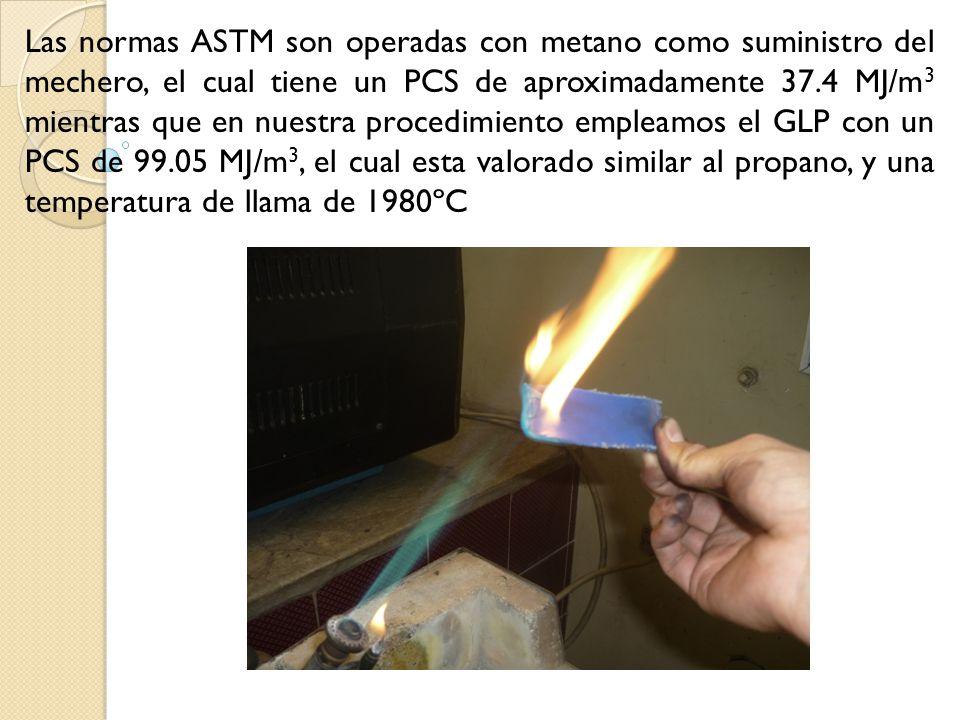 Las normas ASTM son operadas con metano como suministro del mechero, el cual tiene un PCS de aproximadamente 37.4 MJ/m3 mientras que en nuestra procedimiento empleamos el GLP con un PCS de 99.05 MJ/m3, el cual esta valorado similar al propano, y una temperatura de llama de 1980ºC