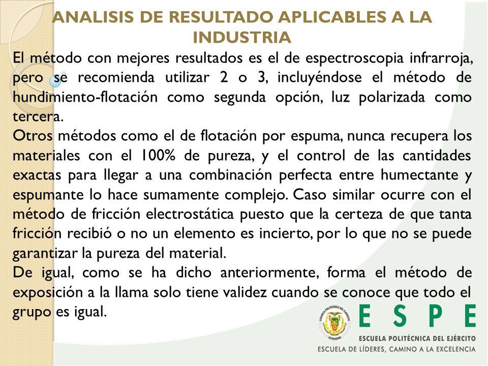 ANALISIS DE RESULTADO APLICABLES A LA INDUSTRIA