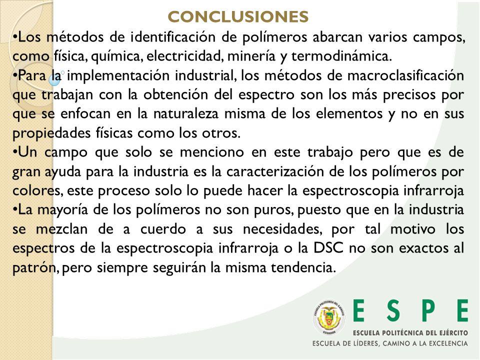 CONCLUSIONES •Los métodos de identificación de polímeros abarcan varios campos, como física, química, electricidad, minería y termodinámica.