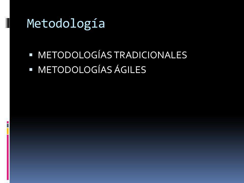 Metodología METODOLOGÍAS TRADICIONALES METODOLOGÍAS ÁGILES