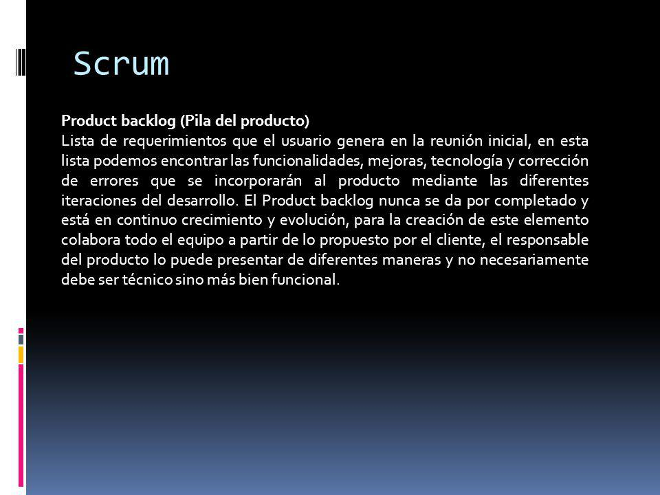 Scrum Product backlog (Pila del producto)
