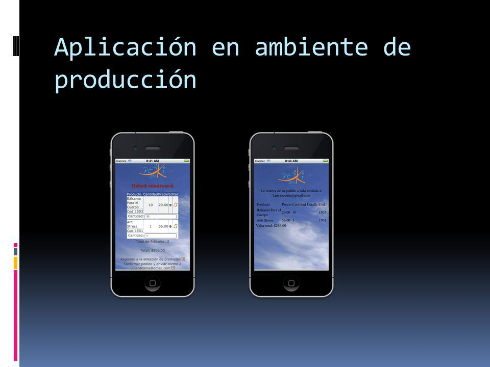 Aplicación en ambiente de producción