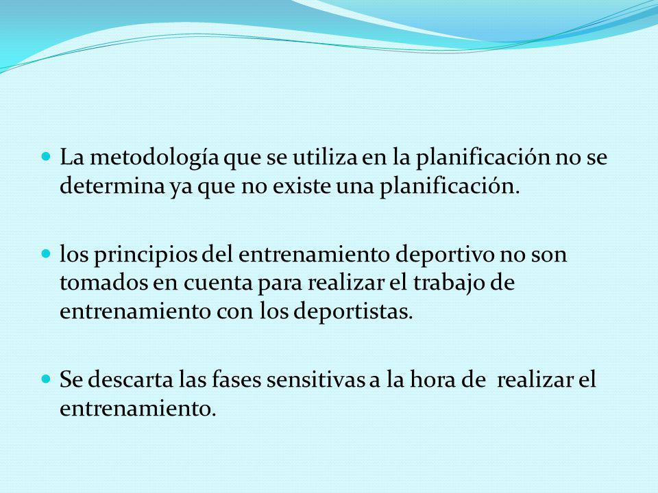 La metodología que se utiliza en la planificación no se determina ya que no existe una planificación.