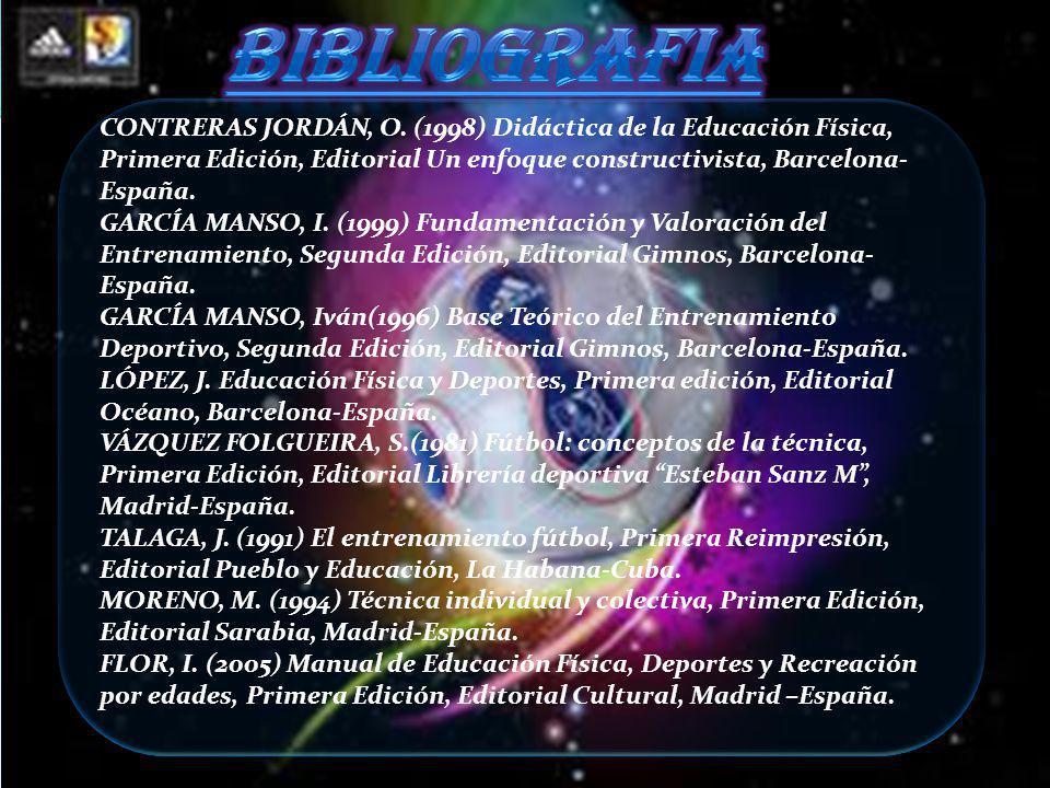BIBLIOGRAFIA CONTRERAS JORDÁN, O. (1998) Didáctica de la Educación Física, Primera Edición, Editorial Un enfoque constructivista, Barcelona-España.