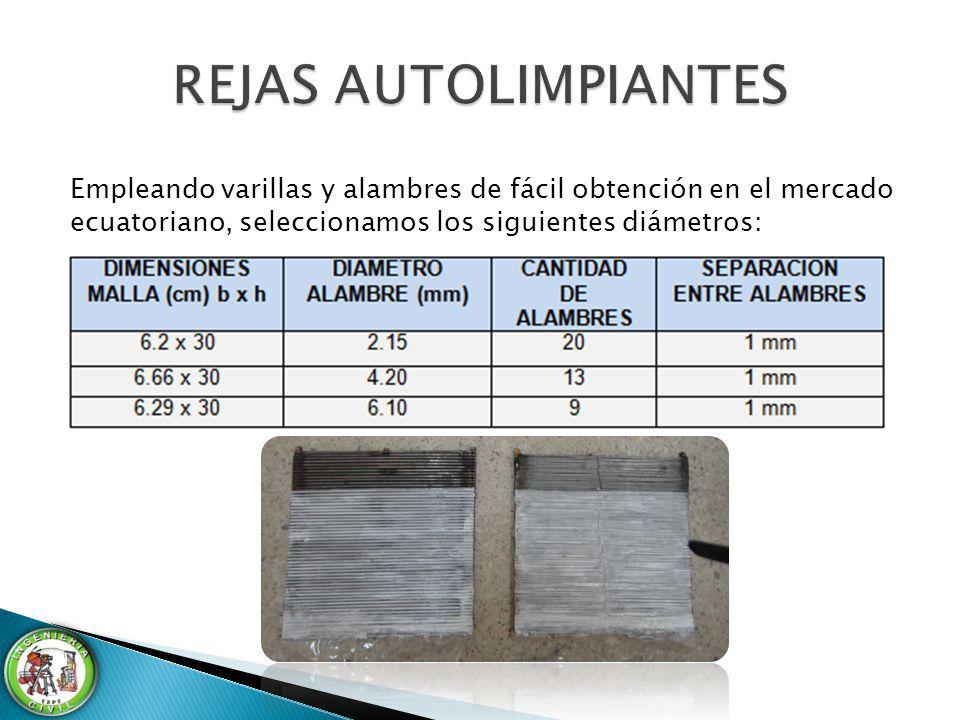 REJAS AUTOLIMPIANTES Empleando varillas y alambres de fácil obtención en el mercado ecuatoriano, seleccionamos los siguientes diámetros: