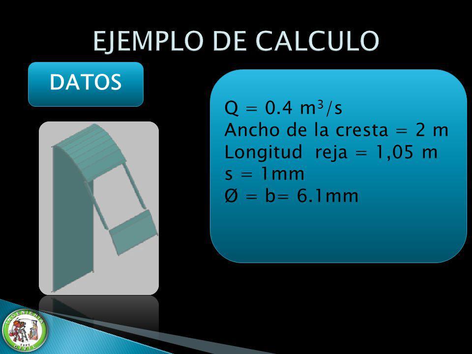 EJEMPLO DE CALCULO DATOS Q = 0.4 m3/s Ancho de la cresta = 2 m