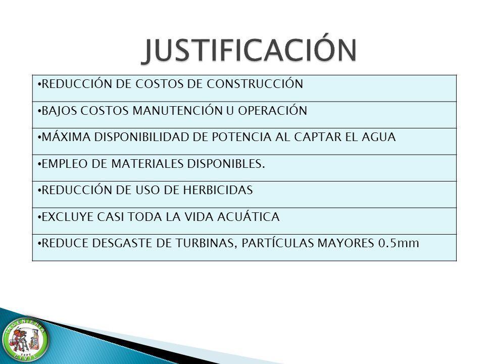 JUSTIFICACIÓN REDUCCIÓN DE COSTOS DE CONSTRUCCIÓN