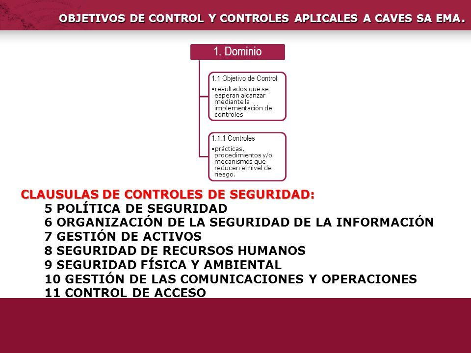 OBJETIVOS DE CONTROL Y CONTROLES APLICALES A CAVES SA EMA.