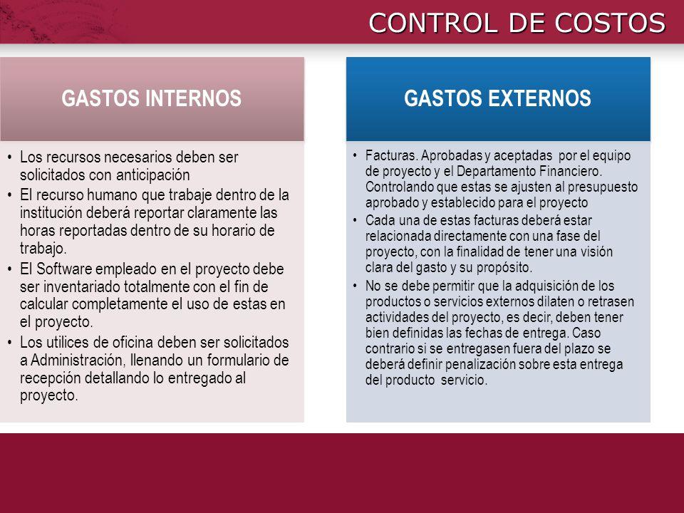 CONTROL DE COSTOS GASTOS INTERNOS GASTOS EXTERNOS