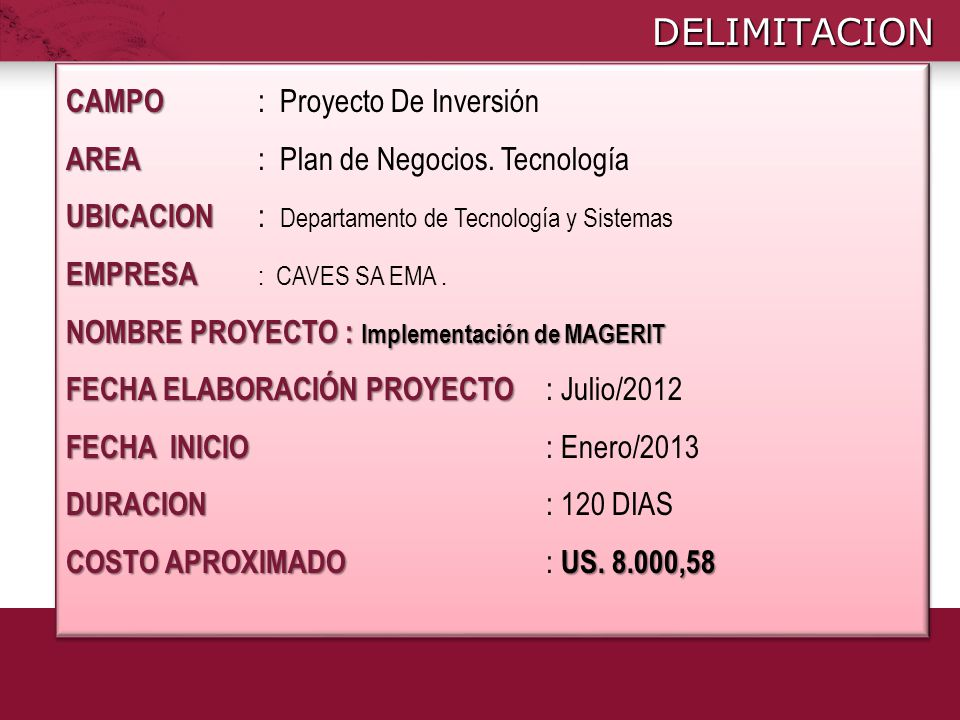DELIMITACION CAMPO : Proyecto De Inversión