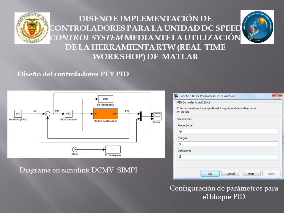 Configuración de parámetros para el bloque PID