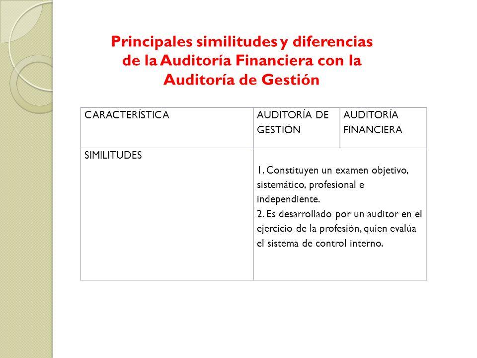 Principales similitudes y diferencias de la Auditoría Financiera con la Auditoría de Gestión
