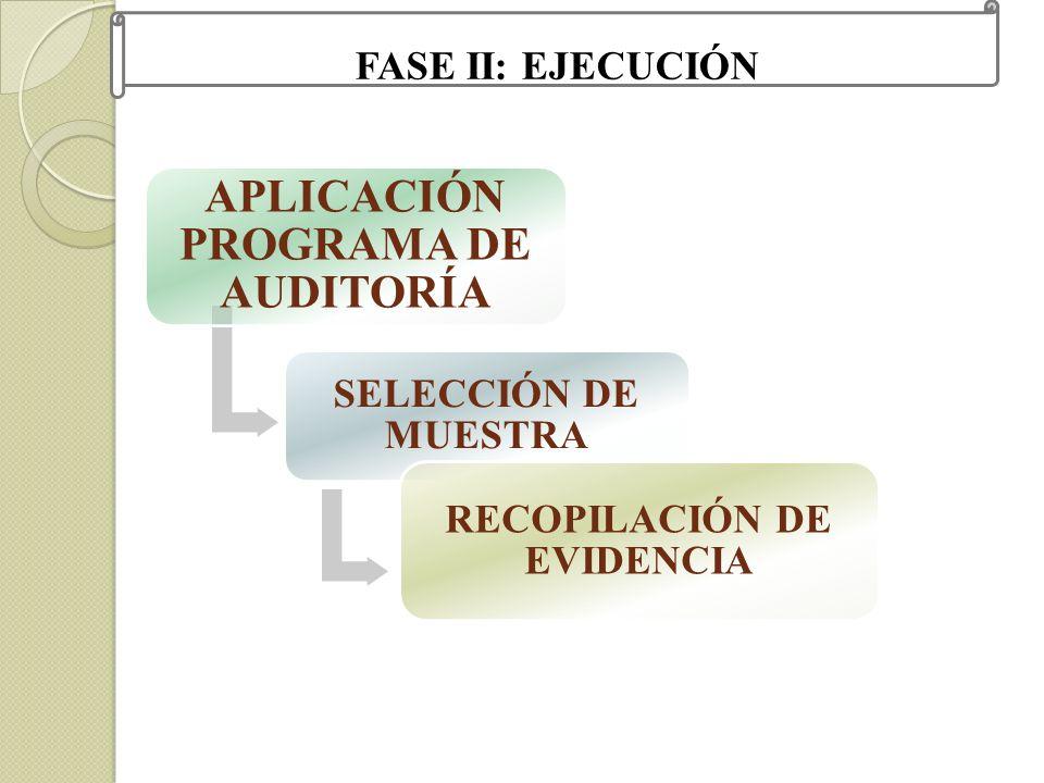 APLICACIÓN PROGRAMA DE AUDITORÍA RECOPILACIÓN DE EVIDENCIA