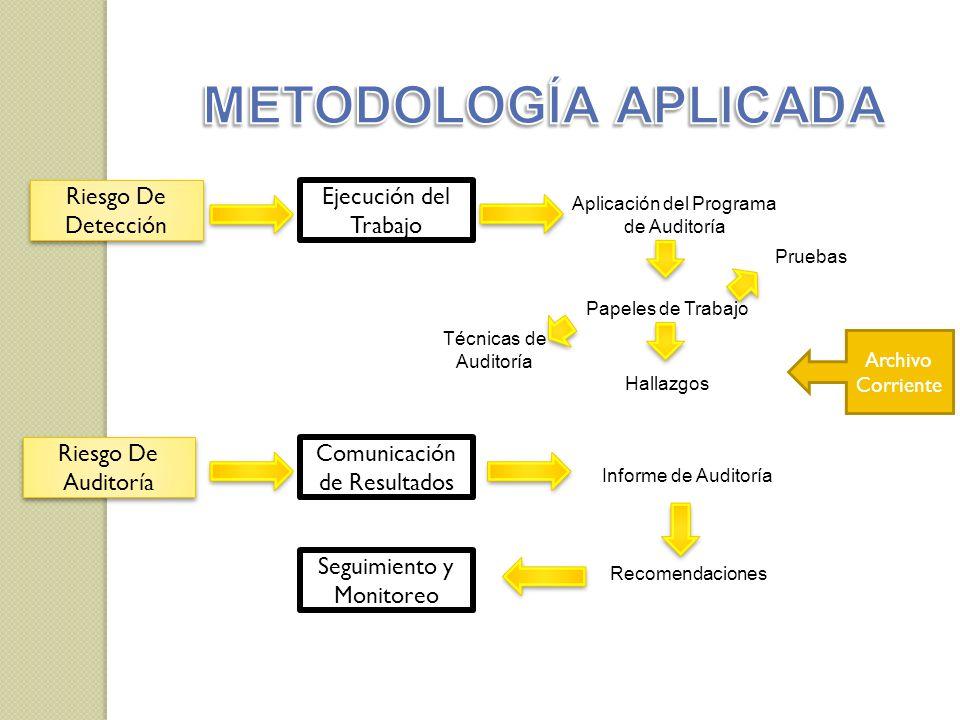 METODOLOGÍA APLICADA Riesgo De Detección Ejecución del Trabajo