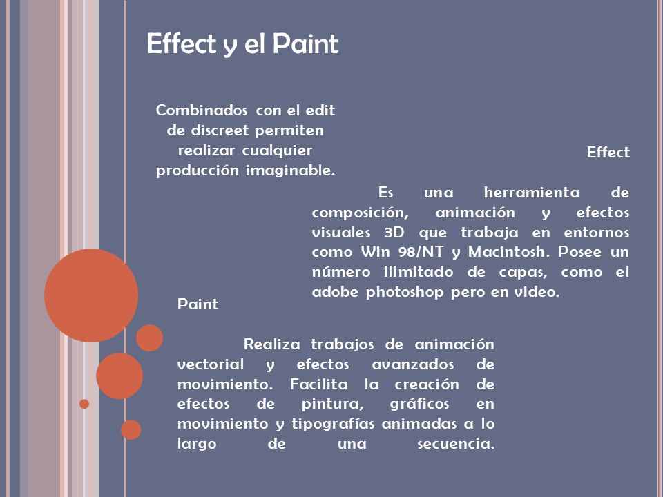 Effect y el Paint Combinados con el edit de discreet permiten realizar cualquier producción imaginable.