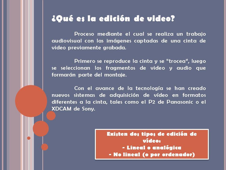 Existen dos tipos de edición de vídeo: - No lineal (o por ordenador)