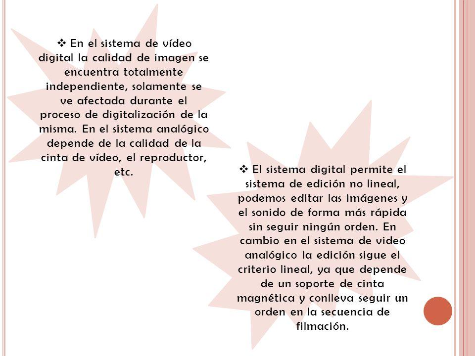 En el sistema de vídeo digital la calidad de imagen se encuentra totalmente independiente, solamente se ve afectada durante el proceso de digitalización de la misma. En el sistema analógico depende de la calidad de la cinta de vídeo, el reproductor, etc.