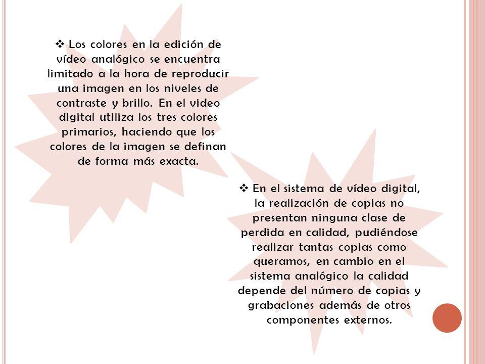 Los colores en la edición de vídeo analógico se encuentra limitado a la hora de reproducir una imagen en los niveles de contraste y brillo. En el video digital utiliza los tres colores primarios, haciendo que los colores de la imagen se definan de forma más exacta.