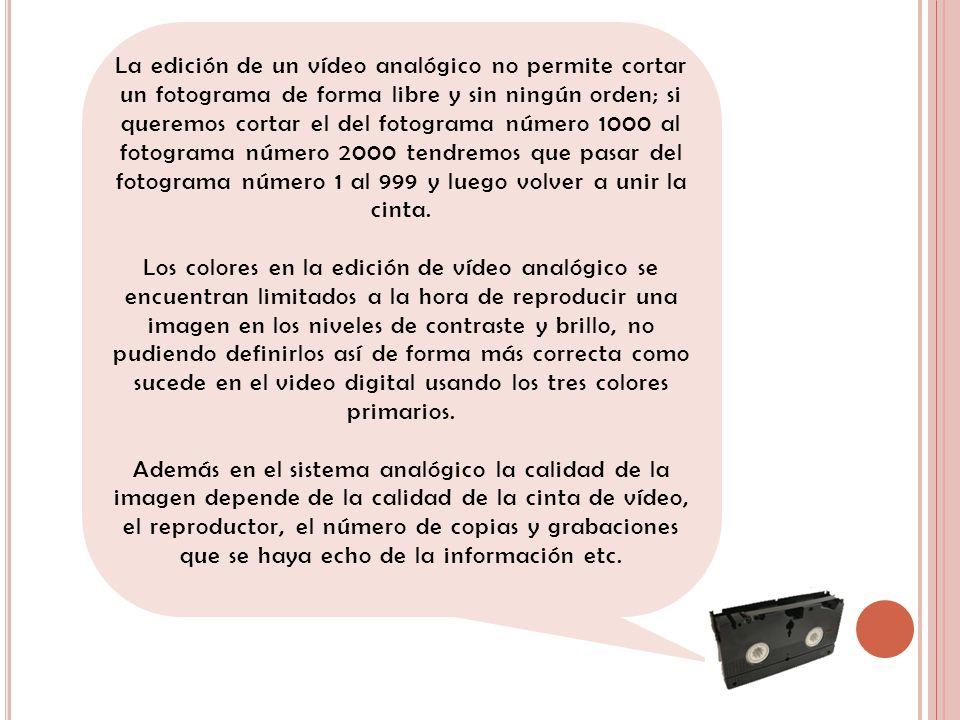 La edición de un vídeo analógico no permite cortar un fotograma de forma libre y sin ningún orden; si queremos cortar el del fotograma número 1000 al fotograma número 2000 tendremos que pasar del fotograma número 1 al 999 y luego volver a unir la cinta.