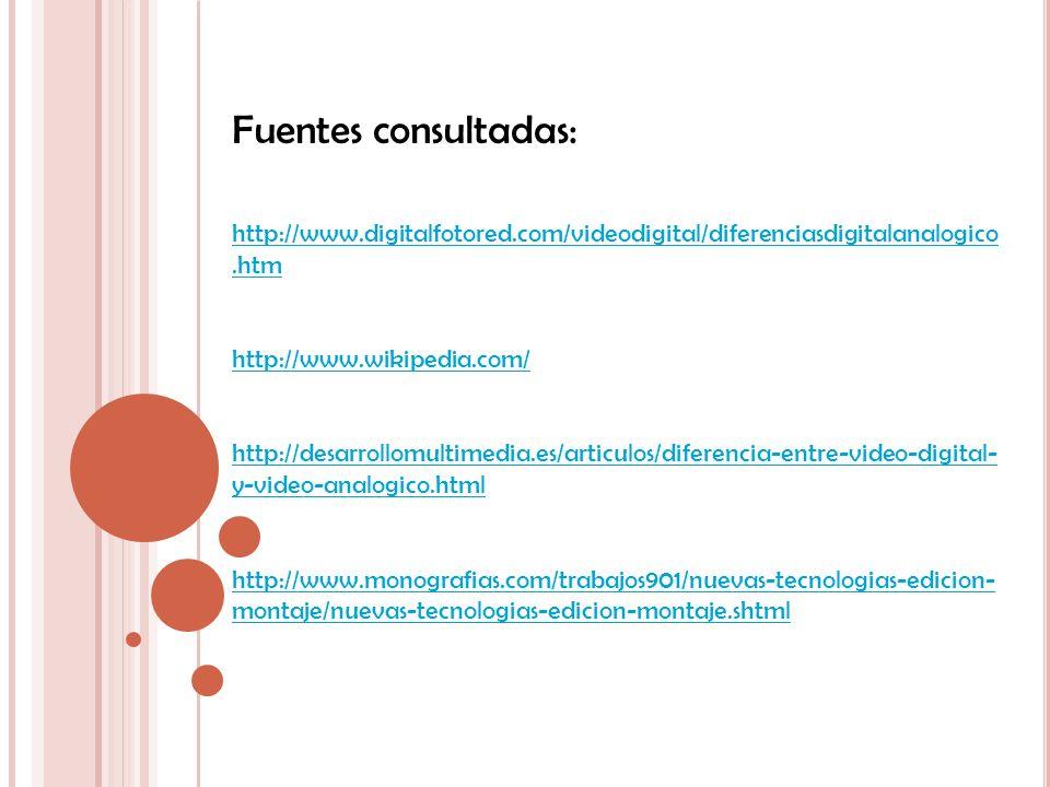 Fuentes consultadas: http://www.digitalfotored.com/videodigital/diferenciasdigitalanalogico.htm. http://www.wikipedia.com/