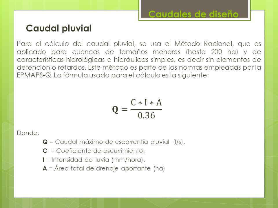Caudales de diseño Caudal pluvial 𝐐= C∗I∗A 0.36