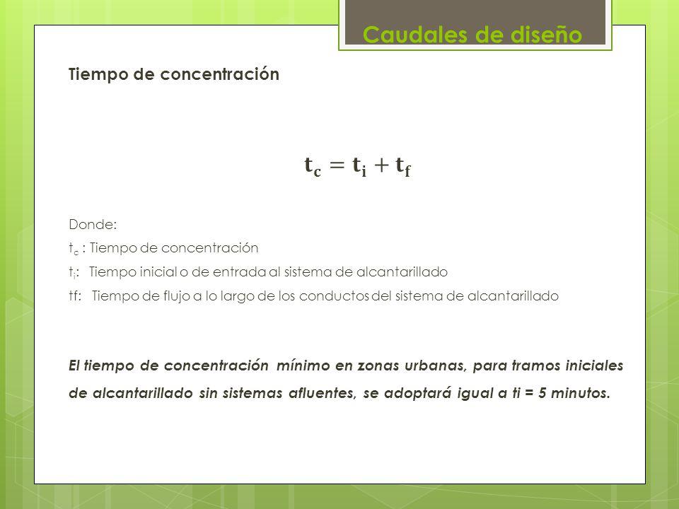 Caudales de diseño Tiempo de concentración 𝐭 𝐜 = 𝐭 𝐢 + 𝐭 𝐟
