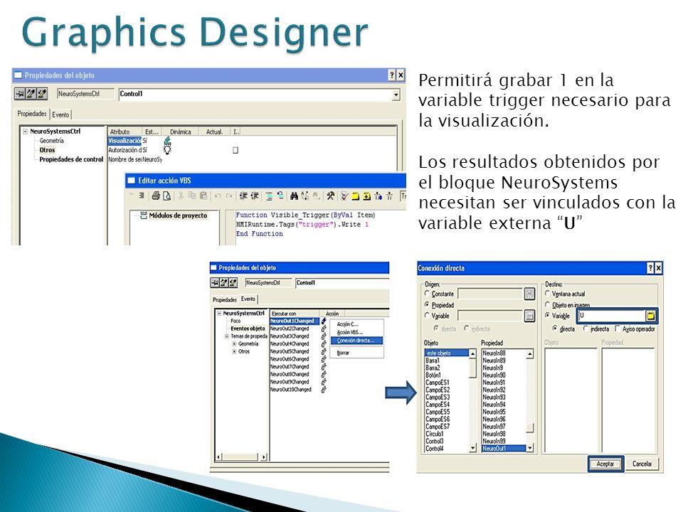 Graphics Designer Permitirá grabar 1 en la variable trigger necesario para la visualización.