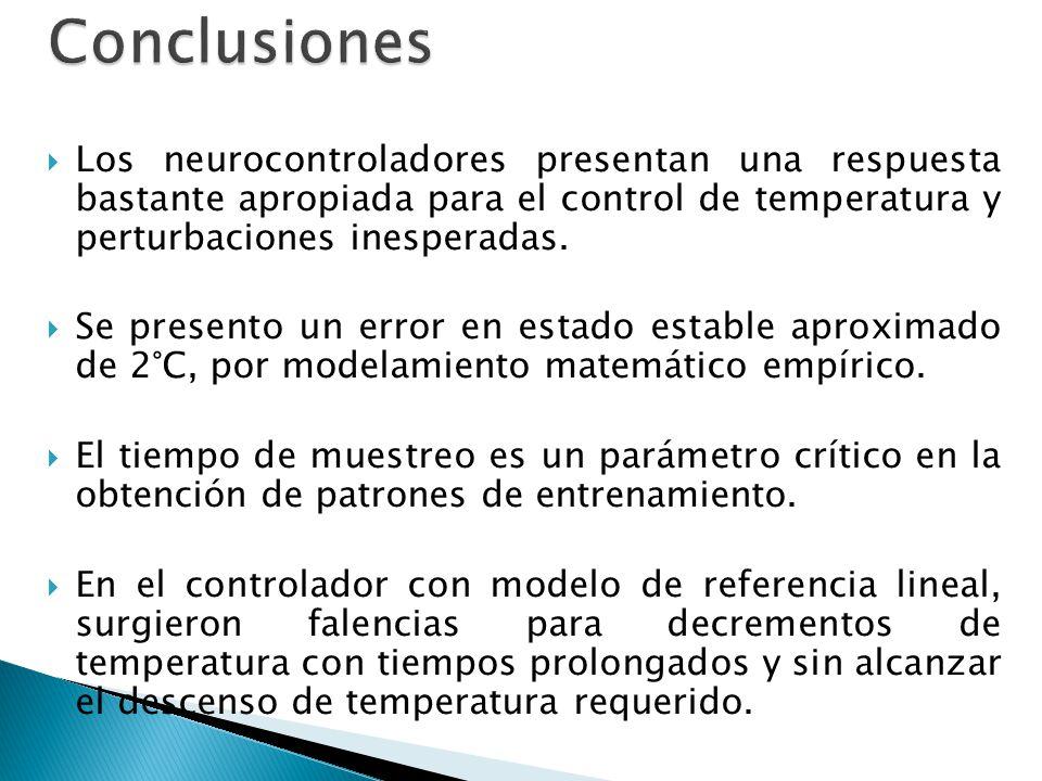 Conclusiones Los neurocontroladores presentan una respuesta bastante apropiada para el control de temperatura y perturbaciones inesperadas.