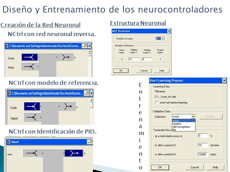 Diseño y Entrenamiento de los neurocontroladores