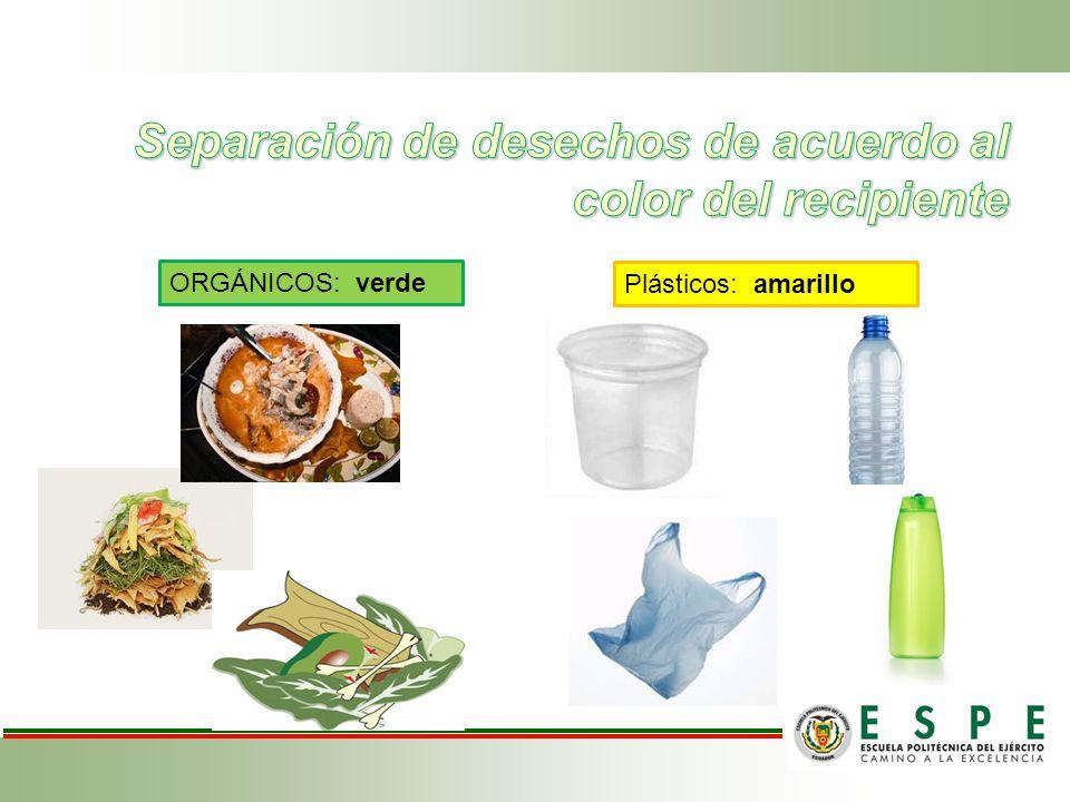 Separación de desechos de acuerdo al color del recipiente