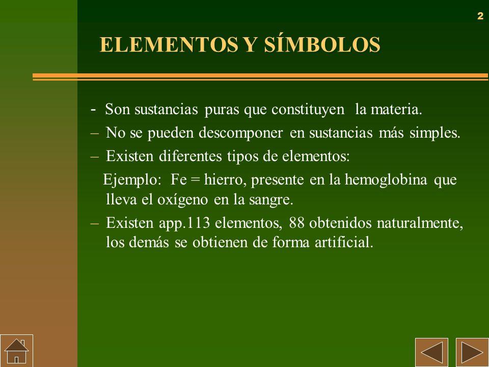 ELEMENTOS Y SÍMBOLOS- Son sustancias puras que constituyen la materia. No se pueden descomponer en sustancias más simples.