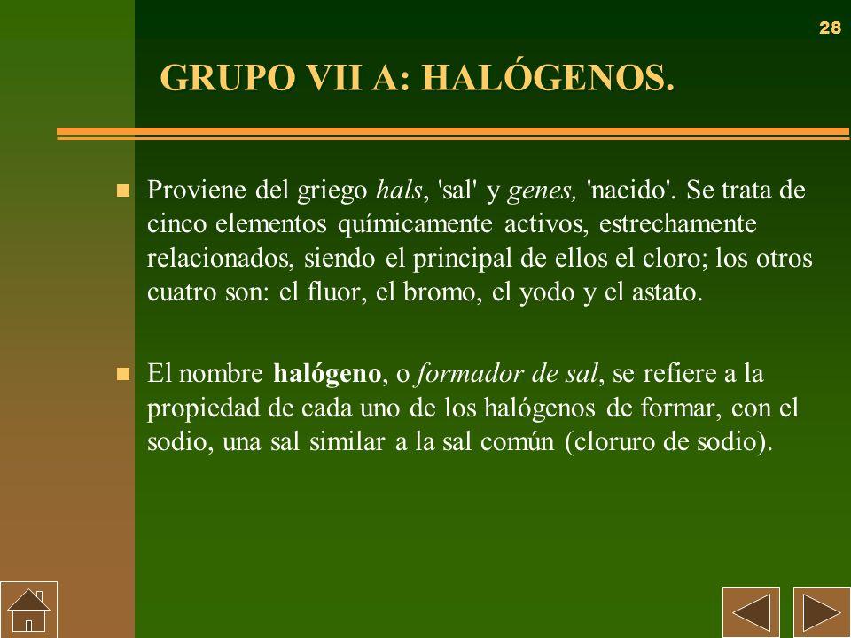 GRUPO VII A: HALÓGENOS.