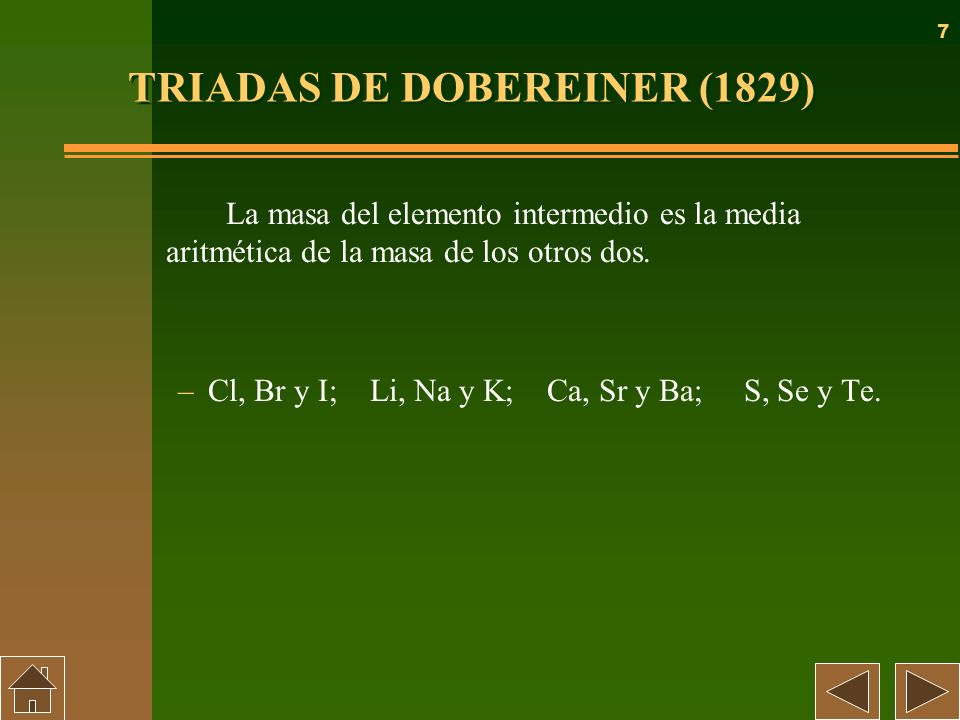 TRIADAS DE DOBEREINER (1829)