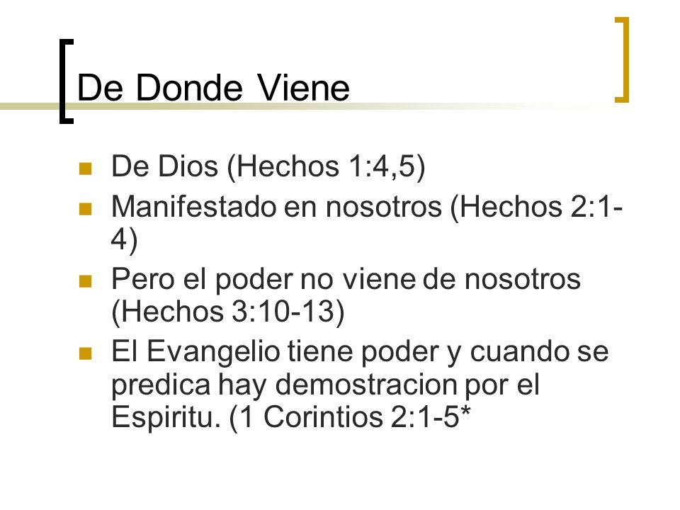 De Donde Viene De Dios (Hechos 1:4,5)