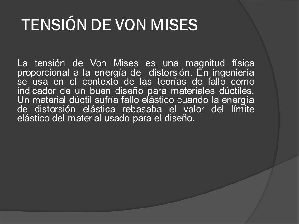 TENSIÓN DE VON MISES
