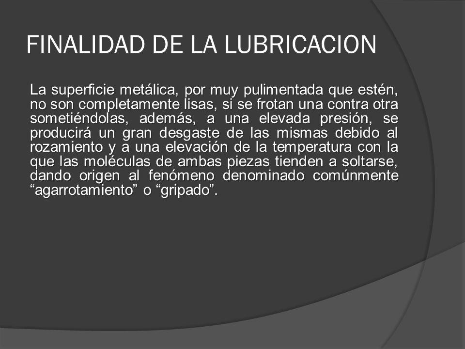 FINALIDAD DE LA LUBRICACION