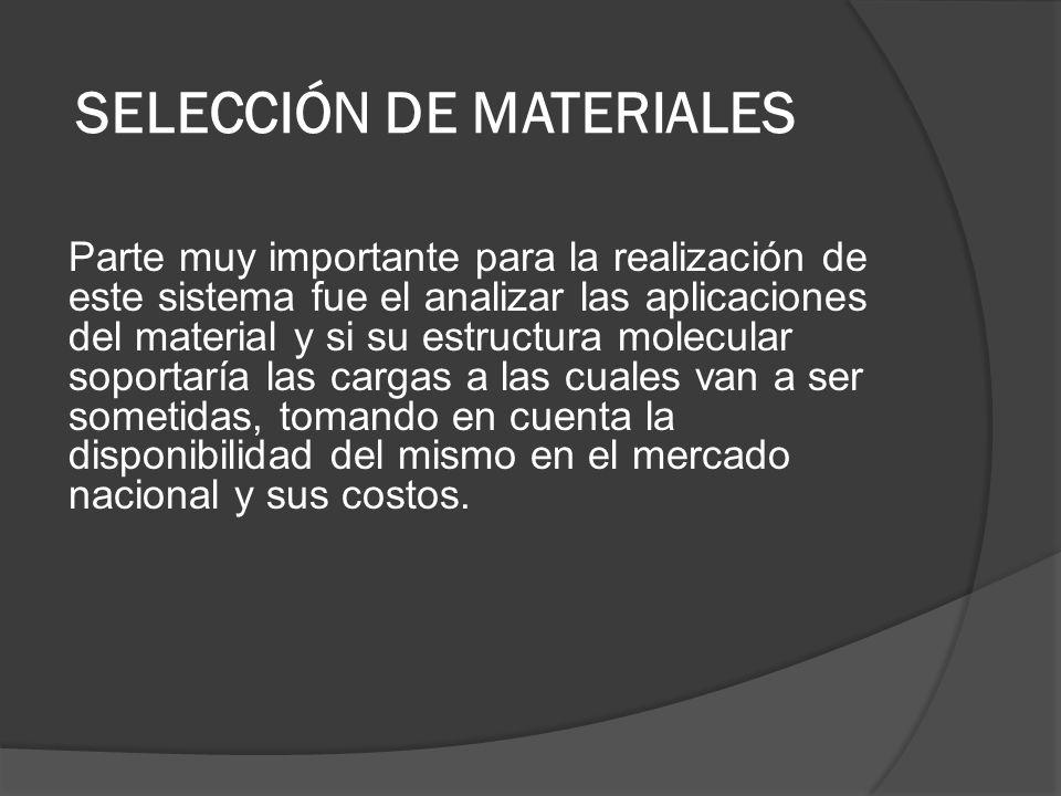 SELECCIÓN DE MATERIALES